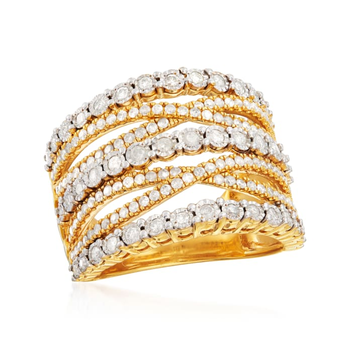 1.00 ct. t.w. Diamond Multi-Row Ring in 18kt Gold Over Sterling