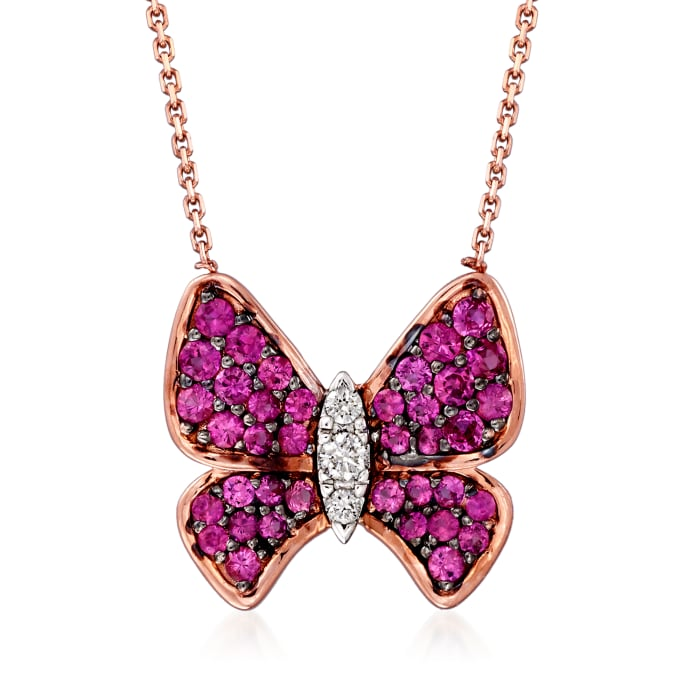 .68 ct. t.w. Pink Sapphire and .11 ct. t.w. Diamond Butterfly Necklace in 14kt Two-Tone Gold