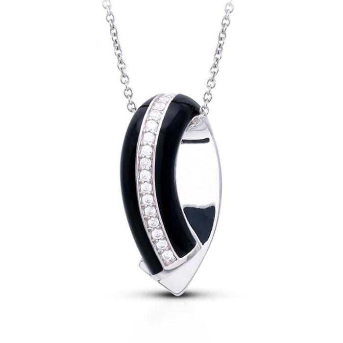 "Belle Etoile ""Tenuto"" Black Enamel and .30 ct. t.w. CZ Pendant in Sterling Silver"