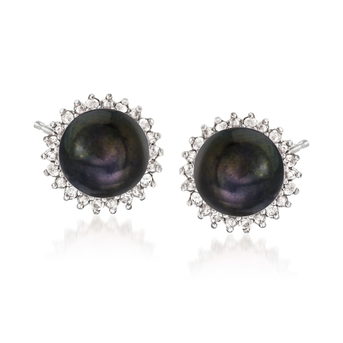 7-7.5mm Multicolored Cultured Pearl and .39 ct. t.w. Diamond Jewelry Set: Three Pairs of Earrings in Sterling Silver
