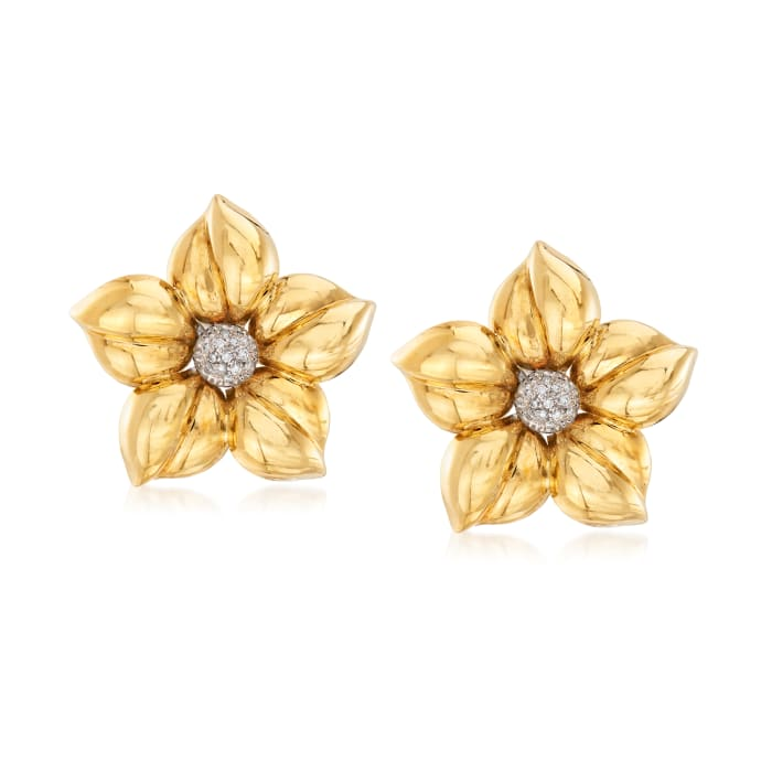C. 1980 Vintage .25 ct. t.w. Diamond Flower Earrings in 18kt Yellow Gold