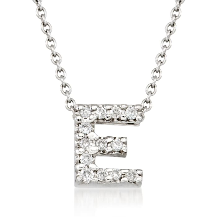 """Roberto Coin """"Love Letter"""" Diamond Accent Initial """"E"""" Necklace in 18kt White Gold"""