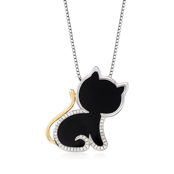Black Agate and .13 ct. t.w. Diamond Cat Pendant Necklace in 14kt Yellow Gold and Sterling Silver