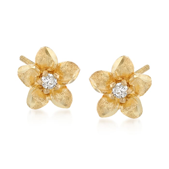 Child's 14kt Yellow Gold Flower Stud Earrings with Diamond Accents