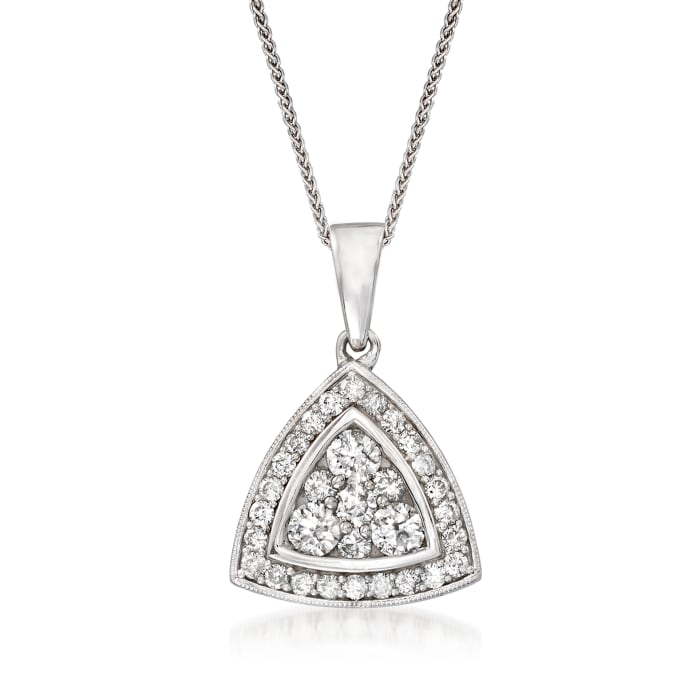 C. 1990 Vintage 1.00 ct. t.w. Diamond Triangle Cluster Pendant Necklace in 14kt White Gold