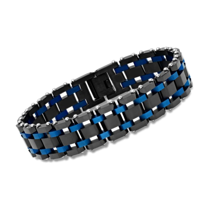 Men's Black and Blue Stainless Steel Railroad-Link Bracelet