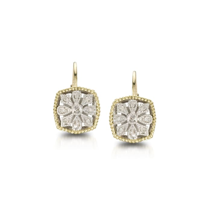 Andrea Candela Diamond Accent Floral Earrings in 18kt Yellow Gold and Sterling Silver