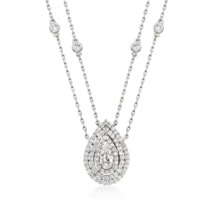 1.00 ct. t.w. CZ Two-Strand Drop Necklace in Sterling Silver