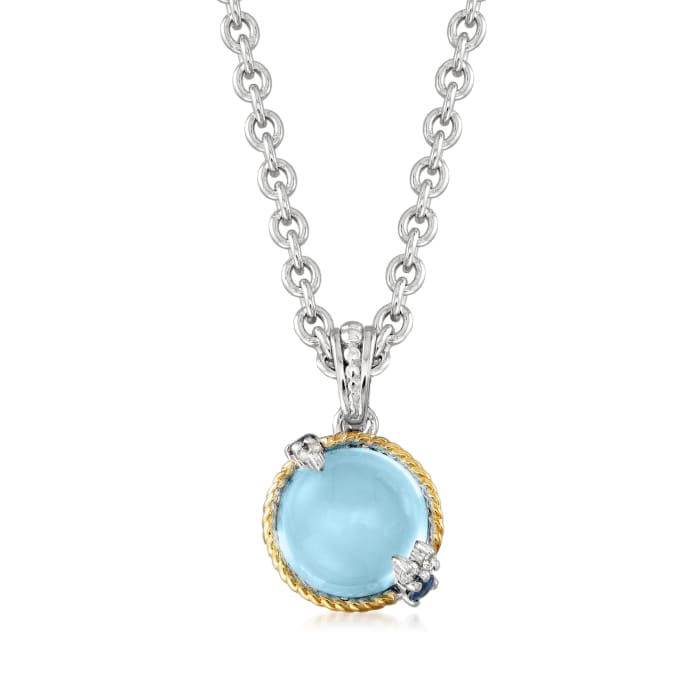"""Andrea Candela """"Dulcitos"""" 4.80 Carat Swiss Blue Topaz and .11 ct. t.w. Sapphire Pendant Necklace in Sterling Silver and 18kt Yellow Gold"""