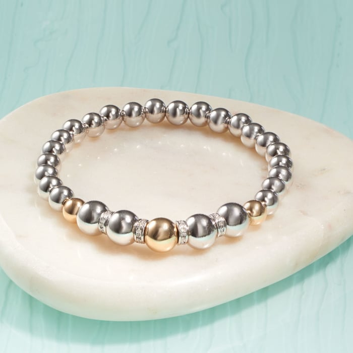 Sterling Silver and 14kt Yellow Gold Bead Stretch Bracelet with .24 ct. t.w. Diamonds
