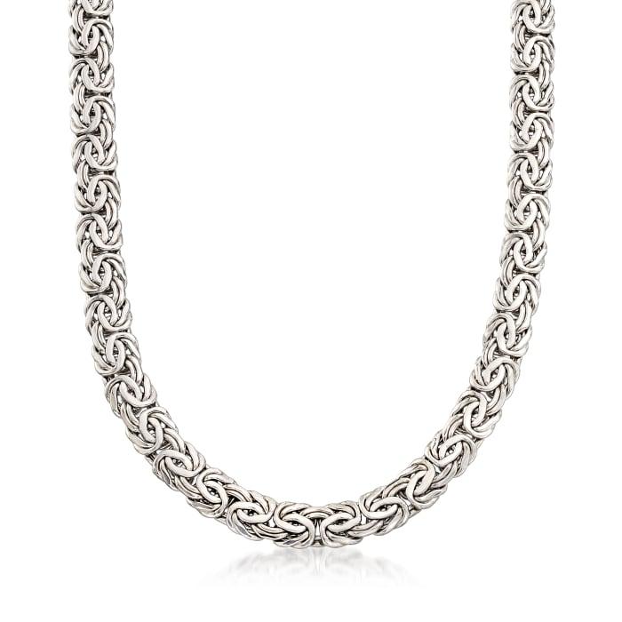 Sterling Silver Byzantine Necklace with Black Onyx