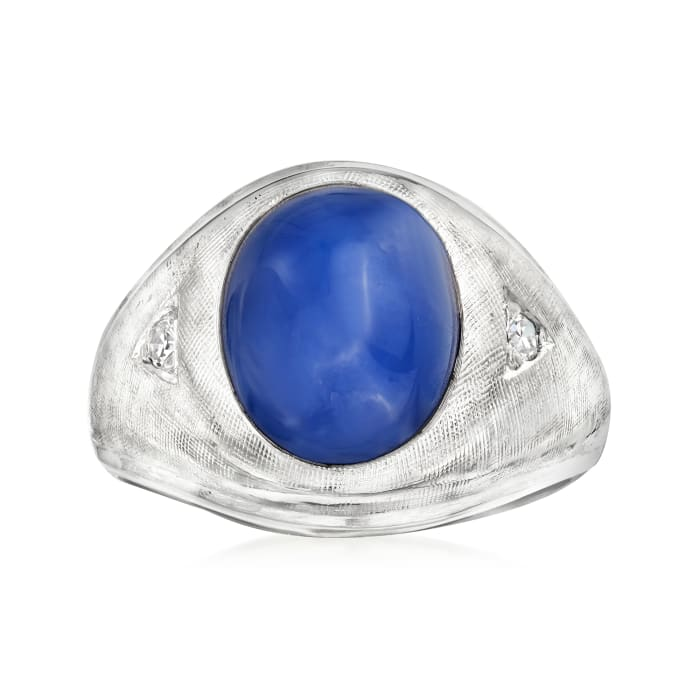 C. 1960 Vintage 6.00 Carat Synthetic Star Sapphire Ring with Diamond Accents in 14kt White Gold