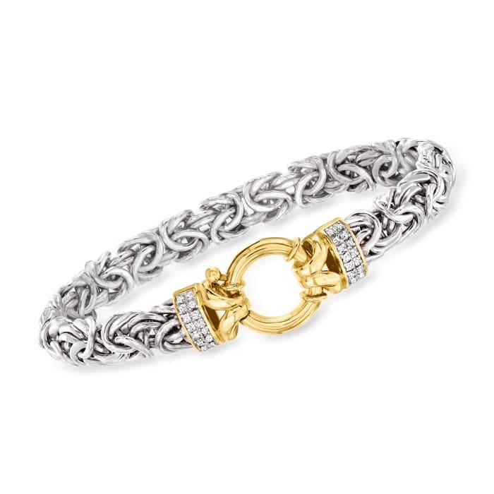 .16 ct. t.w. Diamond Byzantine Bracelet in Two-Tone Sterling Silver