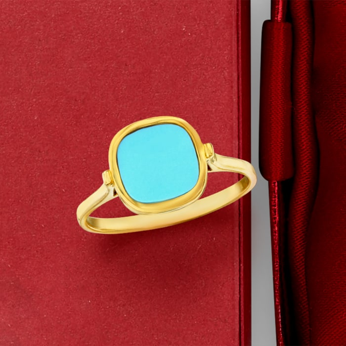 Italian Turquoise Ring in 14kt Yellow Gold
