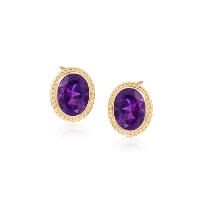 2.50 ct. t.w. Amethyst Twist Edge Earrings in 14kt Yellow Gold