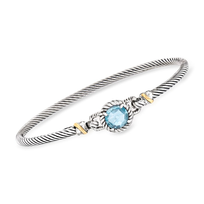 "Phillip Gavriel ""Italian Cable"" 2.40 Carat Blue Topaz Bracelet in Sterling Silver with 18kt Yellow Gold"