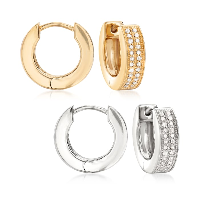 .25 ct. t.w. Diamond Jewelry Set: Two Pairs of Hoop Earrings in Sterling Silver and 18kt Gold Over Sterling