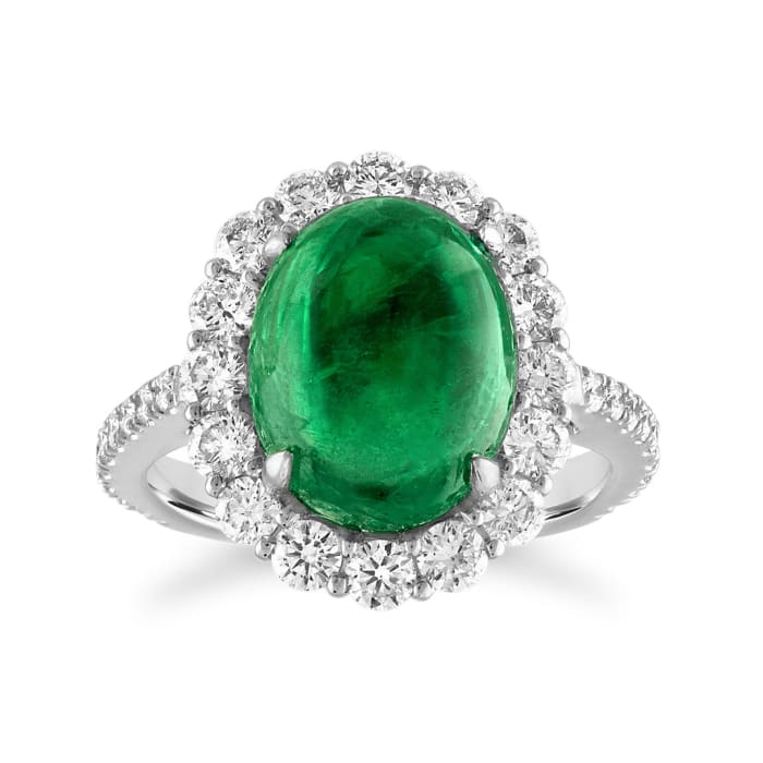 6.25 Carat Zambian Emerald and 1.25 ct. t.w. Diamond Ring in 18kt White Gold