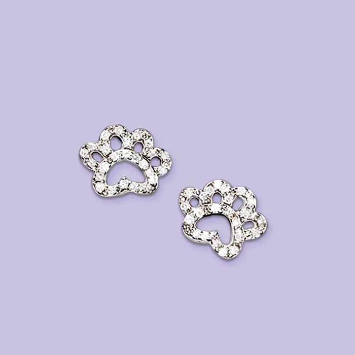 .15 ct. t.w. Diamond Open Paw Print Stud Earrings in Sterling Silver