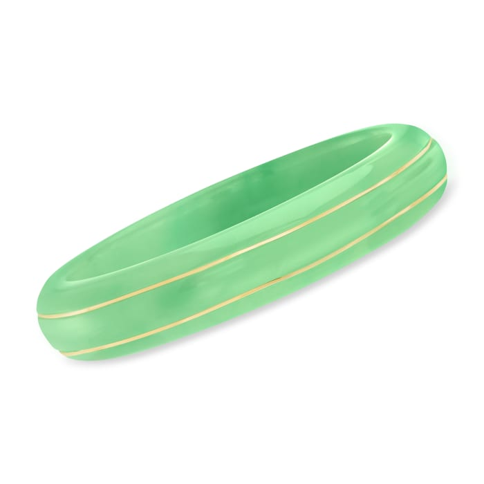 Jade Bangle Bracelet with 14kt Yellow Gold