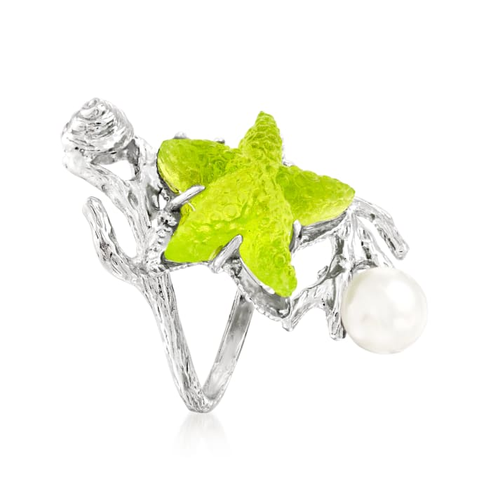 Italian 6.5-7mm Cultured Pearl and Green Venetian Glass Starfish Wrap Ring in Sterling Silver