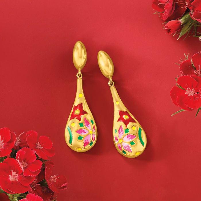 Italian Multicolored Enamel Flower Drop Earrings in 18kt Gold Over Sterling