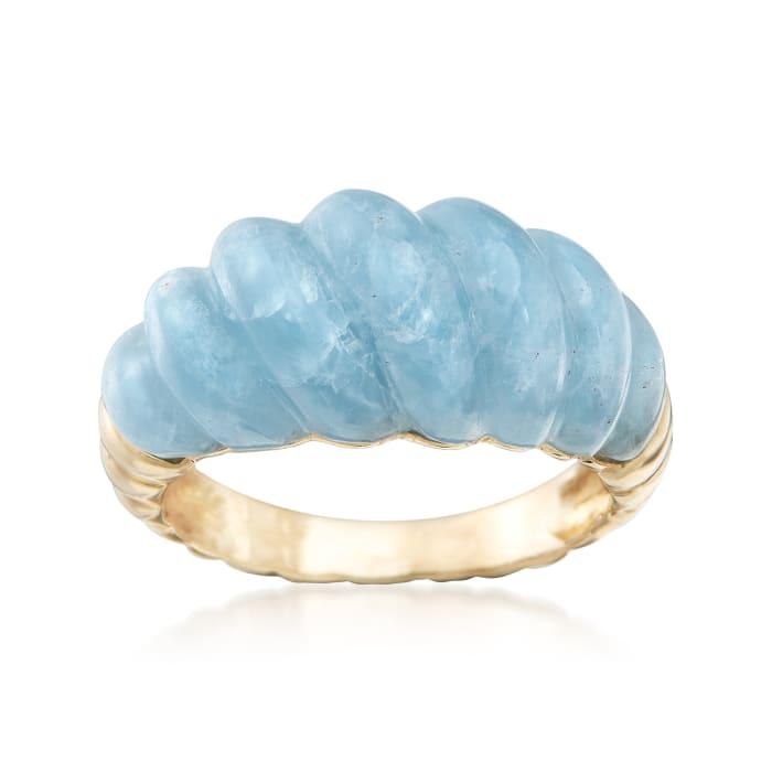 12.00 Carat Milky Aquamarine Shrimp Ring in 14kt Yellow Gold