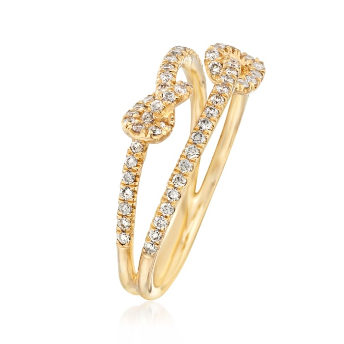 Gabriel Designs .45 ct. t.w. Diamond Double Knot Ring in 14kt Yellow Gold
