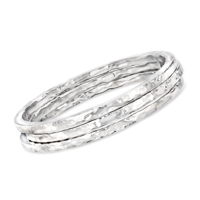 Italian Sterling Silver Jewelry Set: Three Hammered Bangle Bracelets