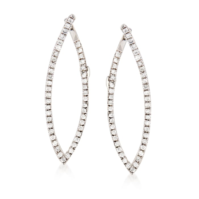 .25 ct. t.w. Diamond Front-Back Hoop Earrings in 14kt White Gold
