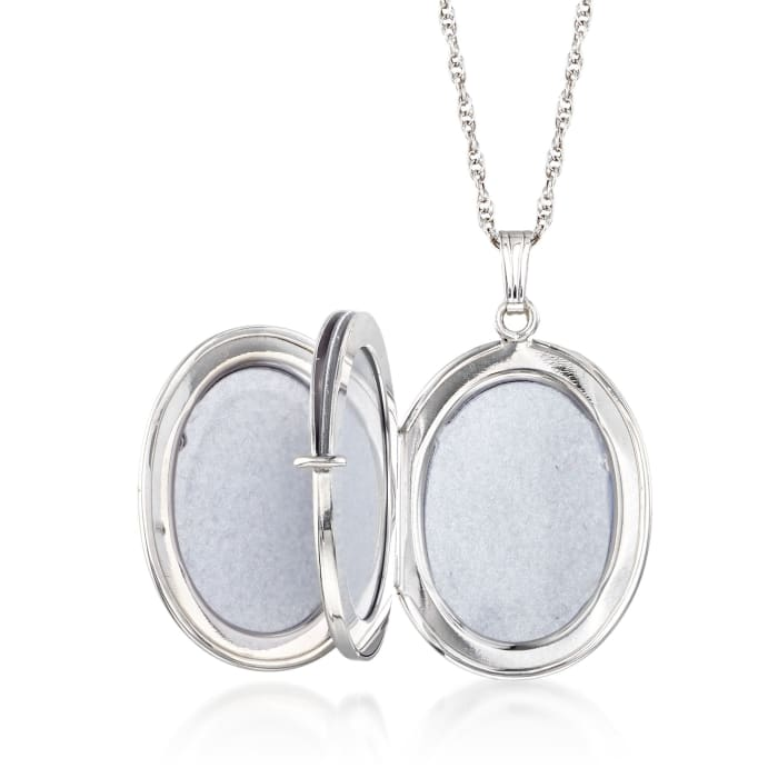 """Sterling Silver Personalized Four-Photo Oval Locket Necklace. 20"""""""