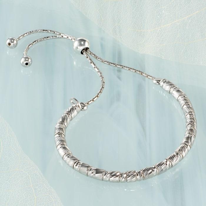 Italian Sterling Silver Cylinder Bead Bolo Bracelet