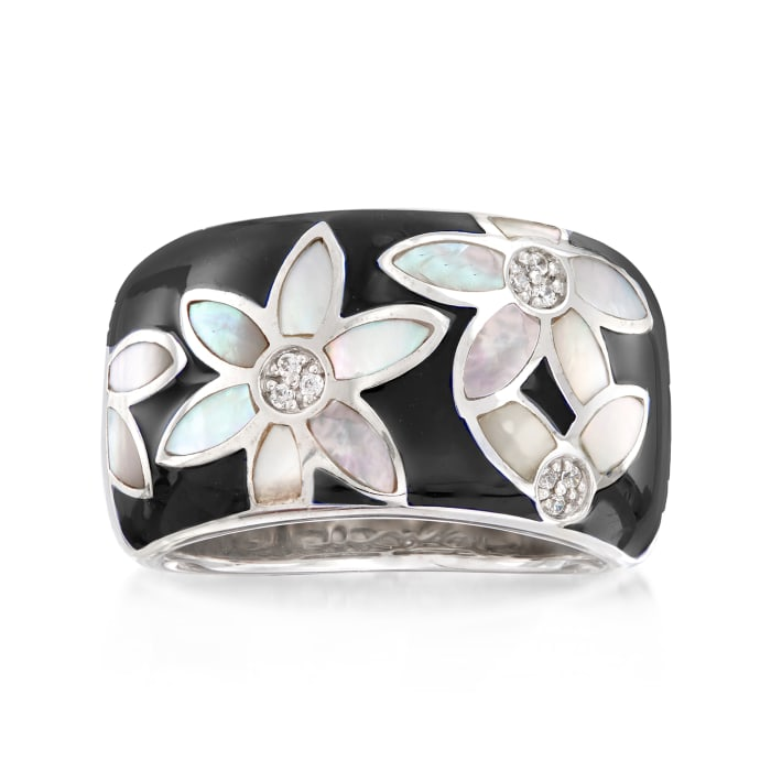 "Belle Etoile ""Moonflower"" Black Enamel and Mother-Of-Pearl Ring with CZ Accents in Sterling Silver"