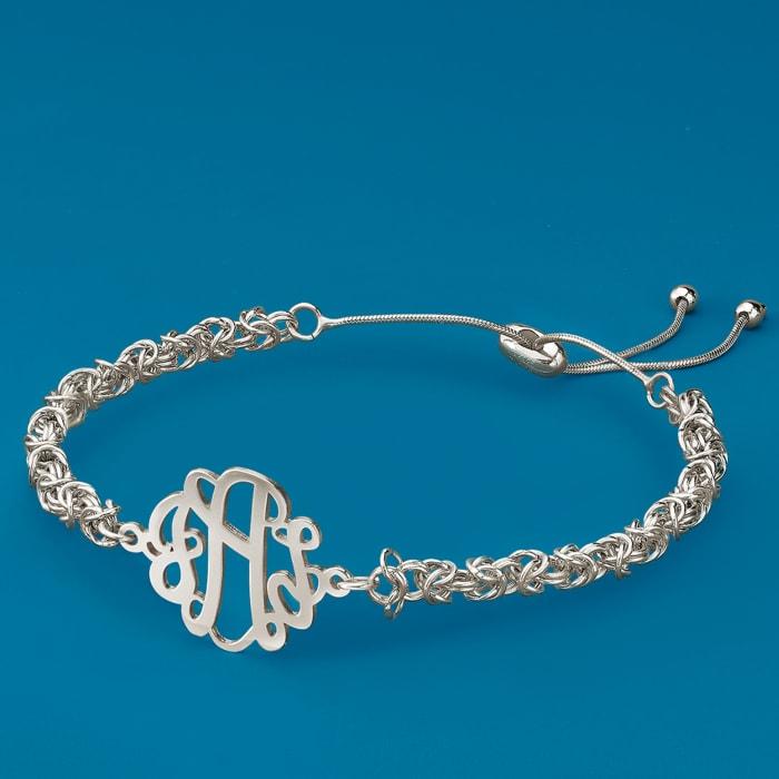 Sterling Silver Byzantine Monogram Bolo Bracelet
