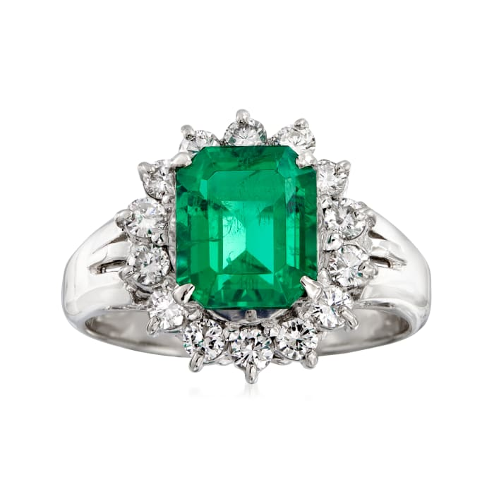 C. 2000 Vintage 2.21 Carat Certified Emerald and .56 ct. t.w. Diamond Ring in Platinum