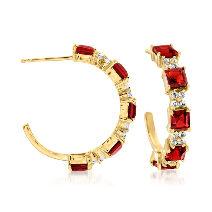 5.25 ct. t.w. Garnet and .50 ct. t.w. White Topaz C-Hoop Earrings in 18kt Gold Over Sterling