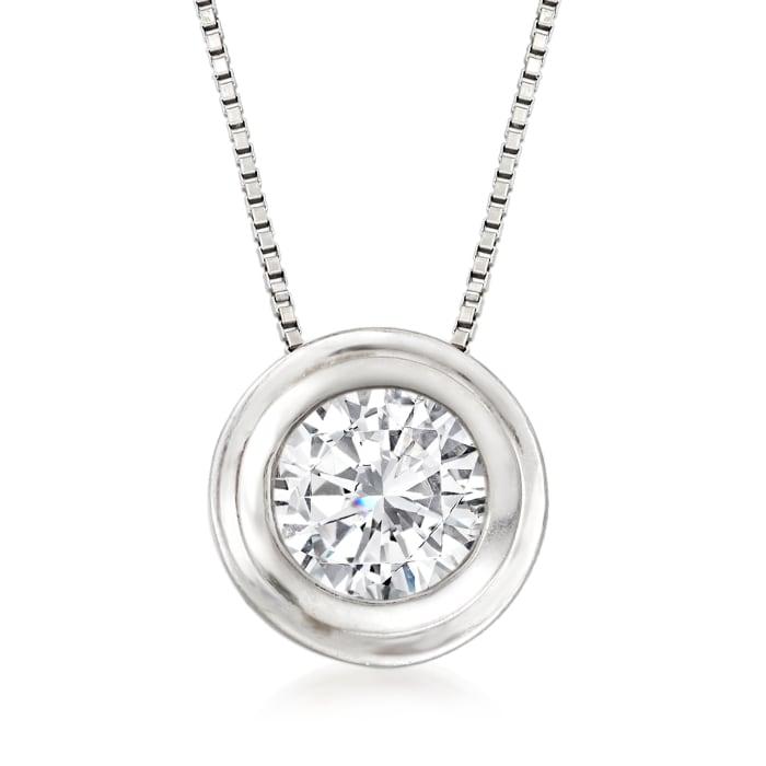 .75 Carat Bezel-Set Diamond Solitaire Necklace in 14kt White Gold