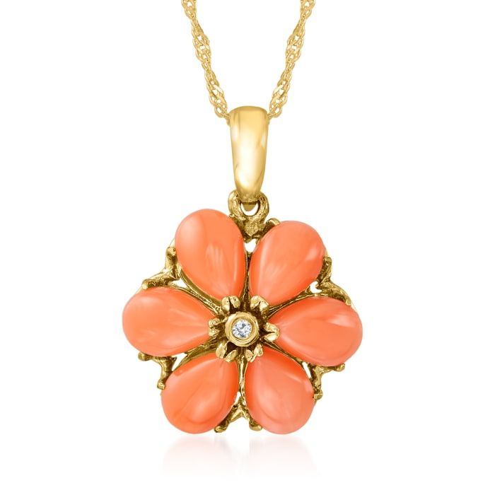 Coral Flower Pendant Necklace with Diamond Accent in 14kt Yellow Gold