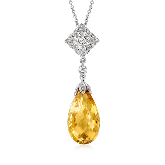 C. 1990 Vintage 11.00 Carat Citrine and .31 ct. t.w. Diamond Drop Necklace in 18kt and 14kt White Gold