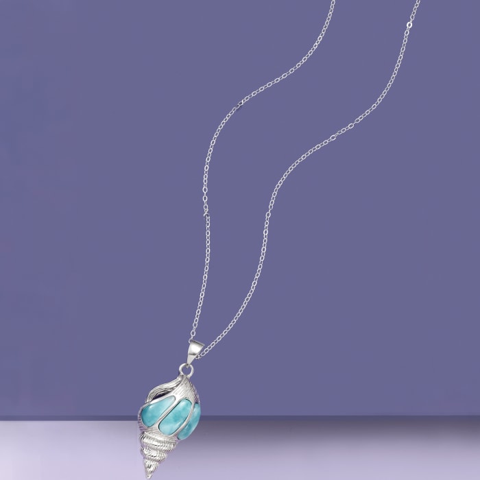 Larimar Seashell Pendant Necklace in Sterling Silver