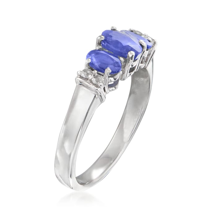 .90 ct. t.w. Tanzanite Ring with White Topaz Accents in Sterling Silver