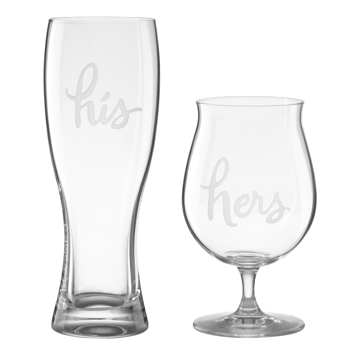 """Kate Spade New York """"Two of a Kind"""" Set of 2 """"His"""" and """"Hers"""" Beer Glasses"""