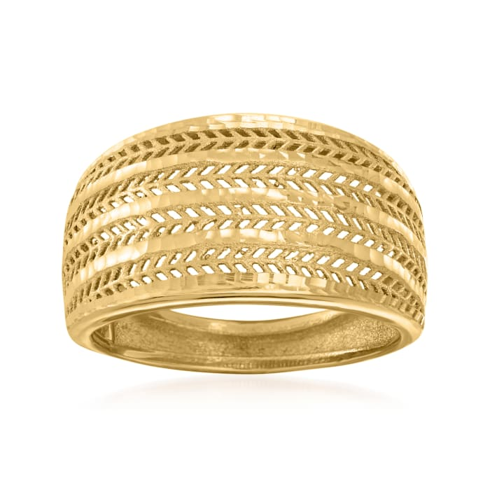 Italian 18kt Yellow Gold Textured and Polished Ring