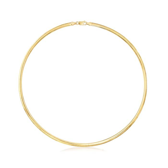Italian 4mm 18kt Gold Over Sterling Omega Necklace