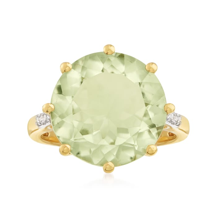 7.50 Carat Prasiolite Ring with White Topaz Accents in 14kt Gold Over Sterling