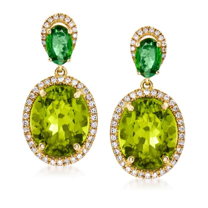 7.50 ct. t.w. Peridot, .80 ct. t.w. Tsavorite and .31 ct. t.w. Diamond Drop Earrings in 14kt Yellow Gold
