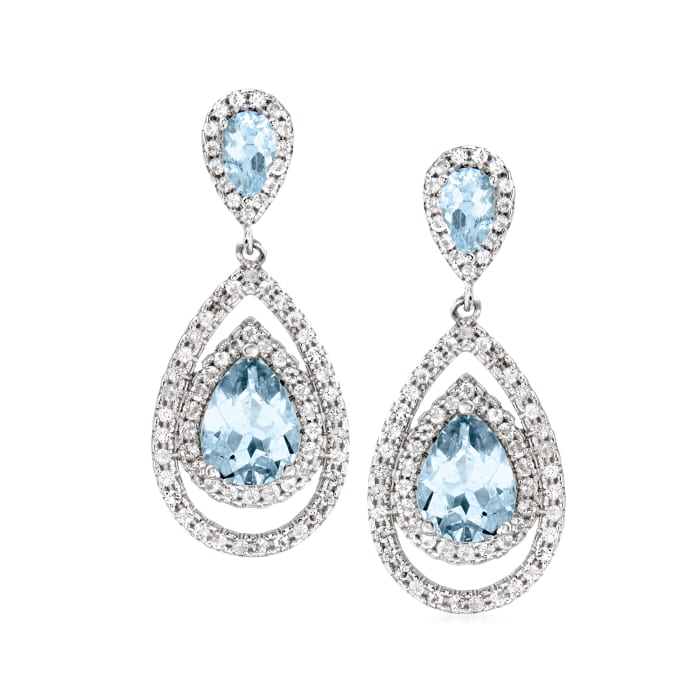 2.60 ct. t.w. Aquamarine and 1.40 ct. t.w. White Topaz Pear-Shaped Drop Earrings in Sterling Silver