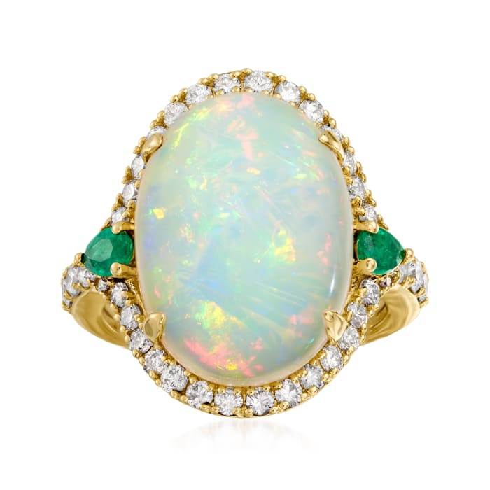Opal, .88 ct. t.w. Diamond and .30 ct. t.w. Emerald Ring in 14kt Yellow Gold