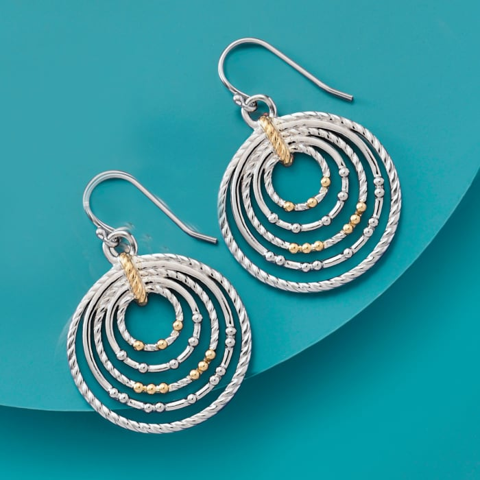 Sterling Silver and 14kt Yellow Gold Nested Circle Drop Earrings