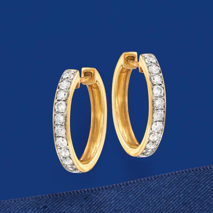 .50 ct. t.w. Diamond Hoop Earrings in 14kt Yellow Gold